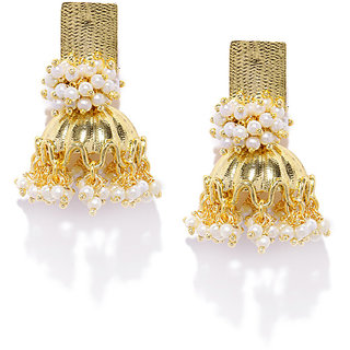Rubans Gold-Toned & White Beaded s Jhumki Earring