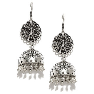 Rubans Oxidised Silver-Toned  Earrings Jhumki Earring
