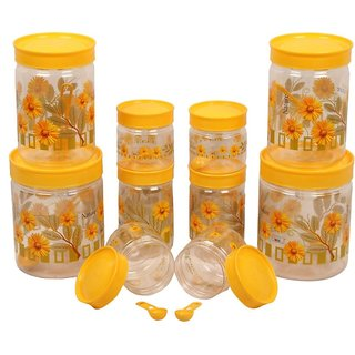 Gold Dust Spoons with  - 1500 ml, 1000 ml, 800 ml, 250 ml, 150 ml Plastic Multi-purpose Storage Container (Pack of 10, Yellow)