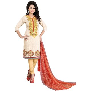 Buy Textilebaba Gold Color Unstitched Printed Dress Material Online