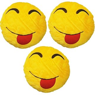 Gold Dust HMI3xC Smiley Emoticon Decorative Cushion  - 15 inch (Multicolor)