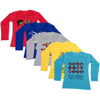 IndiWeaves Girls Cotton Full Sleeve Printed T-Shirt (Pack of 5)Multicolor