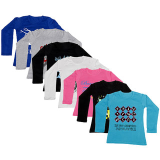 IndiWeaves Girls Cotton Full Sleeve Printed T-Shirt (Pack of 7)Multicolor