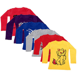 IndiWeaves Girls Cotton Full Sleeve Printed T-Shirt (Pack of 6)Multicolor