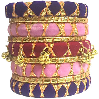 Kuhuk Multi Color Silk Thread Plastic Bangles Set TBC5032