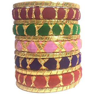 Kuhuk Multi Color Silk Thread Plastic Bangles Set TBC5035