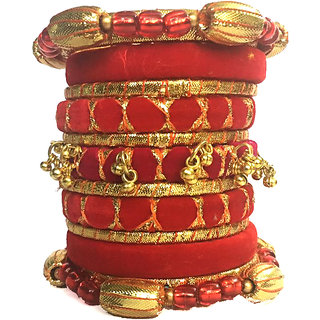 Kuhuk Multi Color Silk Thread Plastic Bangles Set TBC5030