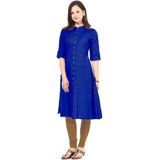 Surat Tex Blue  Brown Color Reyon Cotton Plain Stitched Kurti-K45KI1623