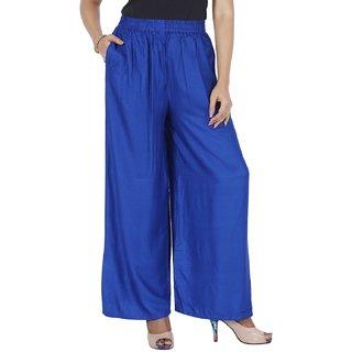 Mayoni Women'S Rayon Free Size R Blue Plazzos