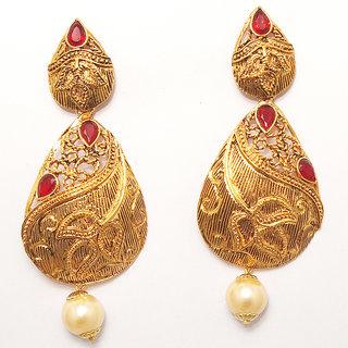 Kriaa by JewelMaze Zinc Alloy Gold Plated Red Austrian Stone Dangle Earrings-AAA0953
