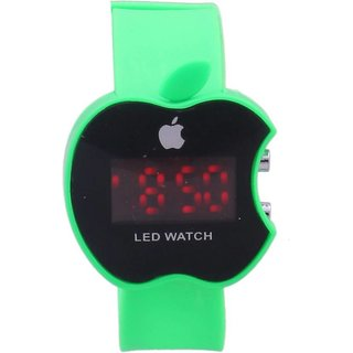 Apple Green LED Digital Wrist Watch For Kids