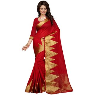 Thankar online trading Gold & Red Polyester Batik Print Saree With Blouse