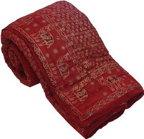 Raani Saa Pure Cotton Double Bed Rajai Quilt Maroon