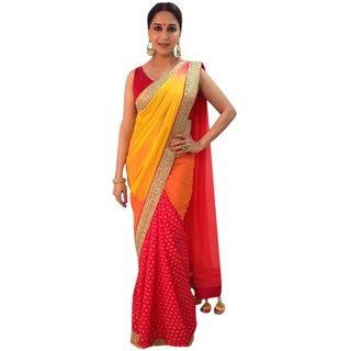 SuratTex Multicolor Crepe Embroidered Saree With Blouse