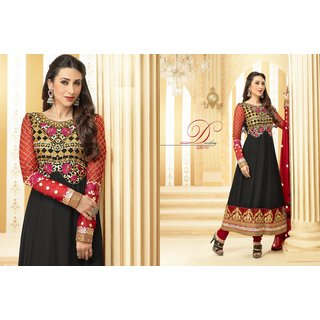 Anarkali Semi Stitched Suit - Beautiful Combination of Black And Maroon