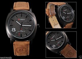 True Choice Black Round Dial Brown Leather Strap Analog Watch For Men's
