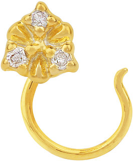 Allure presents Gold plated Silver Nose Pin with Natural Diamond