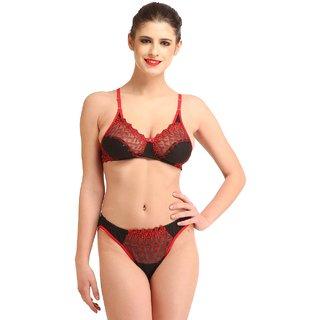 607787d6b4208 Buy Glus (200) Women s Net Laced Bridal Bra And Bikini Cut Panty Set ...