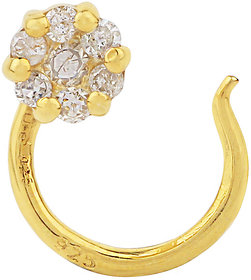 Silver Micron plated Nose Pin adorned with Diamond for Women