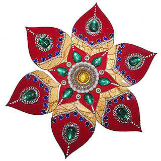 Decoration Craft Acrylic Rangoli (23 Cm, Red  Green)