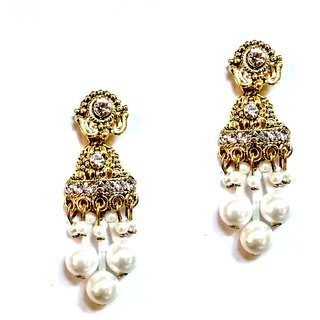 Fashionable Golden  white Earrings for women  Girls By shrungarika