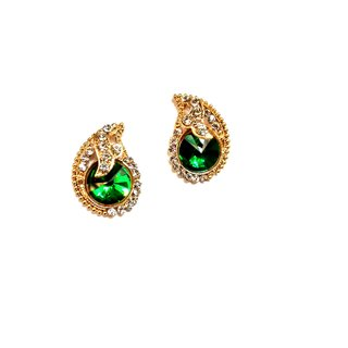 Fashionable Golden  green Stud Earrings for women  Girls by shrungarika
