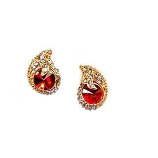 fashionable red  golden Stud earrings for women  Girls by shrungarika