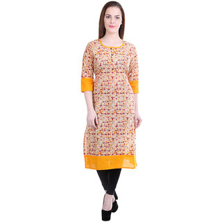 OM SAI  Women's Printed Cotton Chinese coller 3/4 Sleeves Straight Long Kurta