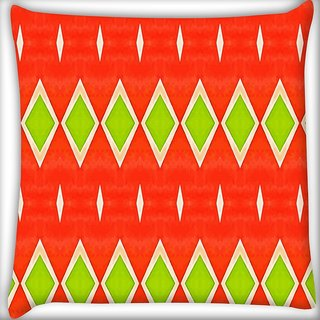 Snoogg Green Diamond Orange Pattern Digitally Printed Cushion Cover Pillow 20 x 20 Inch