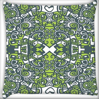 Snoogg Abstract Green Pattern Digitally Printed Cushion Cover Pillow 20 x 20 Inch