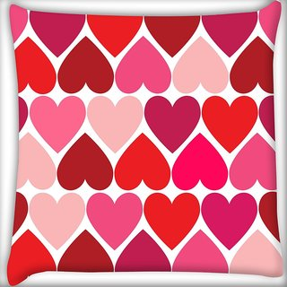 Snoogg Opposite Hearts Digitally Printed Cushion Cover Pillow 20 x 20 Inch