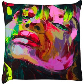Snoogg  Shyla Painting  Digitally Printed Cushion Cover Pillow 16 x 16 Inch
