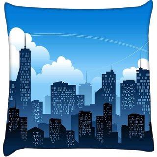 Snoogg  Mumbai By Night  Digitally Printed Cushion Cover Pillow 16 x 16 Inch