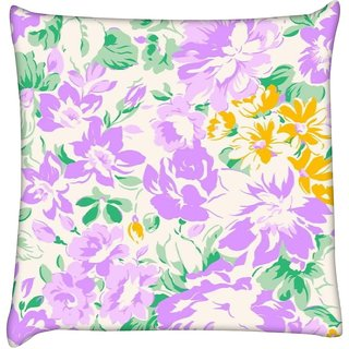 Snoogg white and pink floral pattern 2482  Digitally Printed Cushion Cover Pillow 16 x 16 Inch