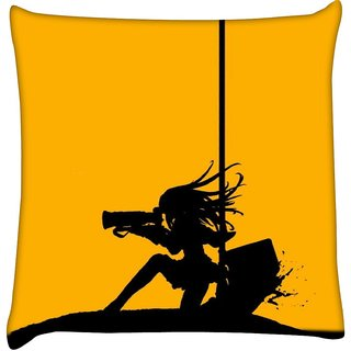 Snoogg women and bullets 2490  Digitally Printed Cushion Cover Pillow 16 x 16 Inch