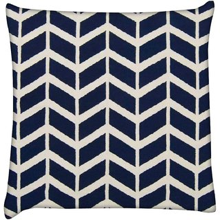 Snoogg navy white line waves 2502  Digitally Printed Cushion Cover Pillow 16 x 16 Inch