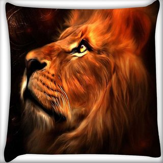 Snoogg Lion heart Digitally Printed Cushion Cover Pillow 16 x 16 Inch