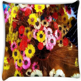 Snoogg  colorful flowers background Digitally Printed Cushion Cover Pillow 16 x 16 Inch