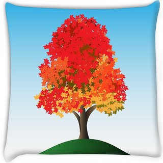 Snoogg  colorful tree Digitally Printed Cushion Cover Pillow 16 x 16 Inch