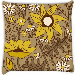 Snoogg  seamless texture with flowers and butterflies endless floral pattern  Digitally Printed Cushion Cover Pillow 16 x 16 Inch