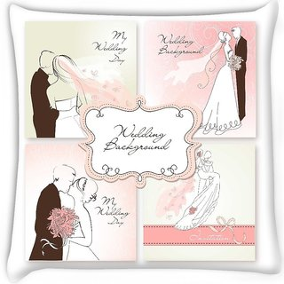 Snoogg  set of beautiful vector wedding backgrounds easy to edit perfect for weddin Digitally Printed Cushion Cover Pillow 16 x 16 Inch