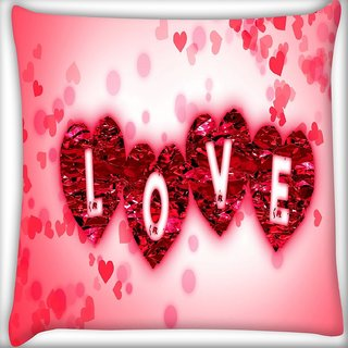 Snoogg Love Digitally Printed Cushion Cover Pillow 16 x 16 Inch
