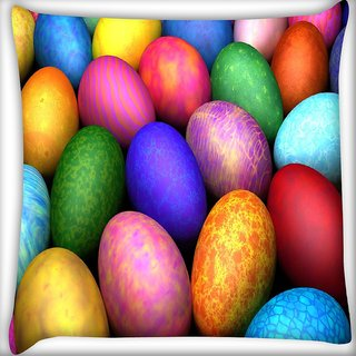 Snoogg Colorful Eggs Digitally Printed Cushion Cover Pillow 16 x 16 Inch