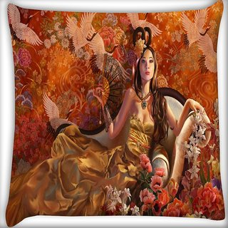 Snoogg Fantasy Girls Digitally Printed Cushion Cover Pillow 16 x 16 Inch