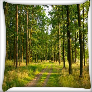 Snoogg Greeny Forest Digitally Printed Cushion Cover Pillow 20 x 20 Inch
