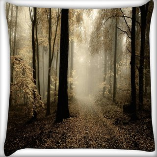 Snoogg White Leaves Digitally Printed Cushion Cover Pillow 20 x 20 Inch