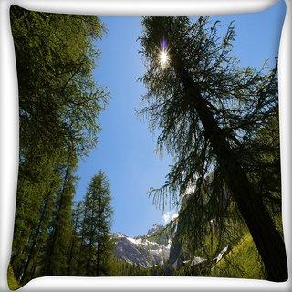 Snoogg Tall Christmas Tree Digitally Printed Cushion Cover Pillow 20 x 20 Inch