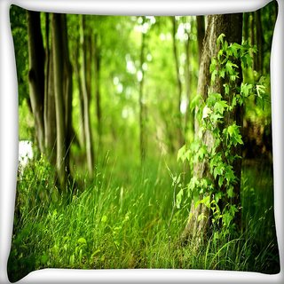 Snoogg Grass And Trees Digitally Printed Cushion Cover Pillow 20 x 20 Inch
