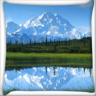 Snoogg White Mountain Digitally Printed Cushion Cover Pillow 20 x 20 Inch