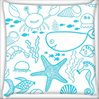 Snoogg Fish World White Pattern Digitally Printed Cushion Cover Pillow 20 x 20 Inch